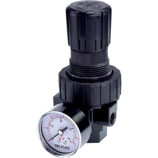 Tru-Flate 3/8 In. FNPT 250 PSI 65 CFM Compact Pressure Regulator
