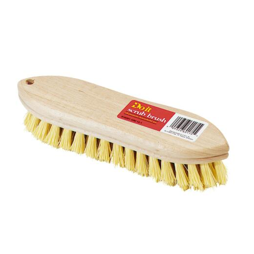 Do it 9 In. Crimped White Polypropylene Bristle Hardwood Scrub Brush