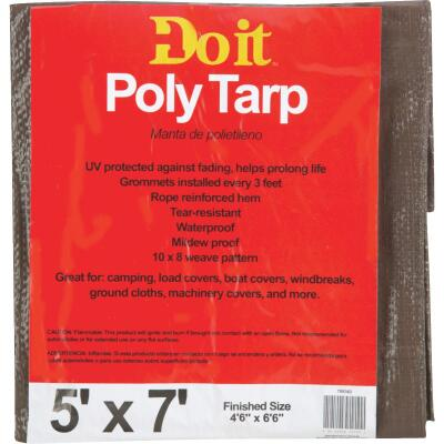 Do it Green/Brown Woven 5 Ft. x 7 Ft. Medium Duty Poly Tarp
